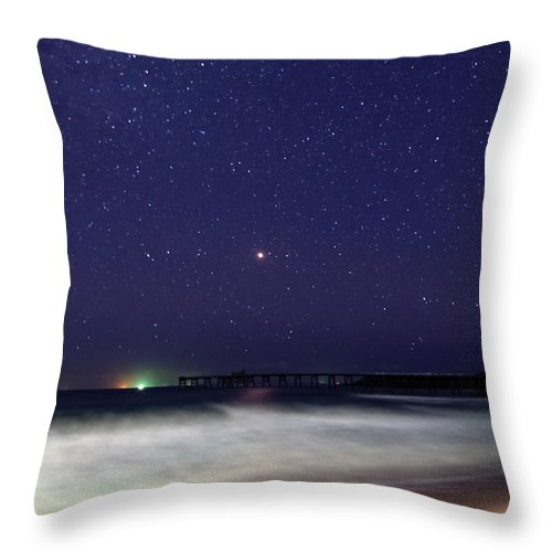 Catherine Hill Bay Throw Pillow featuring the photograph Starry Night Seascape by Merrillie Redden