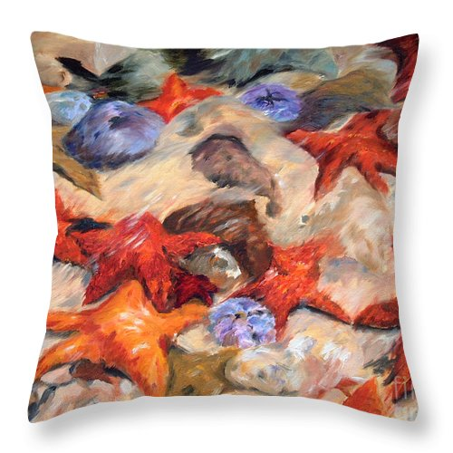 Painting Throw Pillow featuring the painting Starry Sea by Enzie Shahmiri