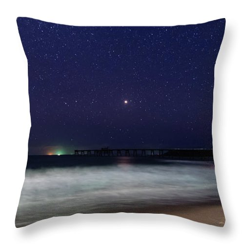 Catherine Hill Bay Throw Pillow featuring the photograph Starry, Starry Night At Catherine Hill Bay by Merrillie Redden