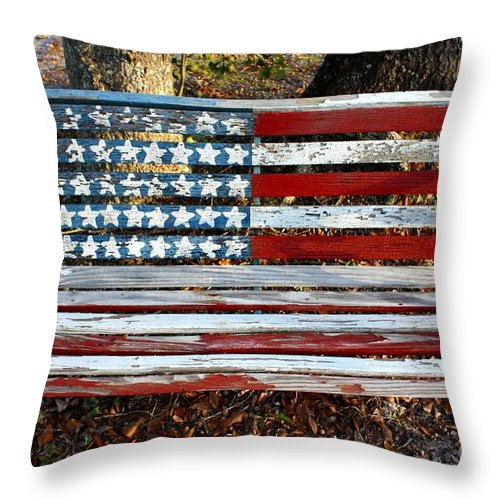 American Flag Display Throw Pillow featuring the photograph Stars And Stripes by Southern Photo