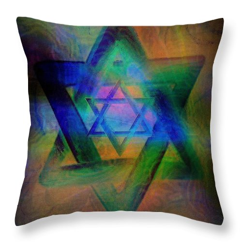 Religious Throw Pillow featuring the painting Stars Of David by Wbk