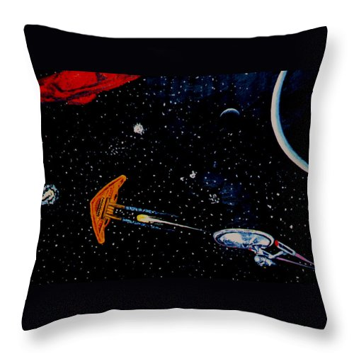 Startrel.scoemce Foxopm.s[ace.[;amets.stars Throw Pillow featuring the painting Startrek by Stan Hamilton
