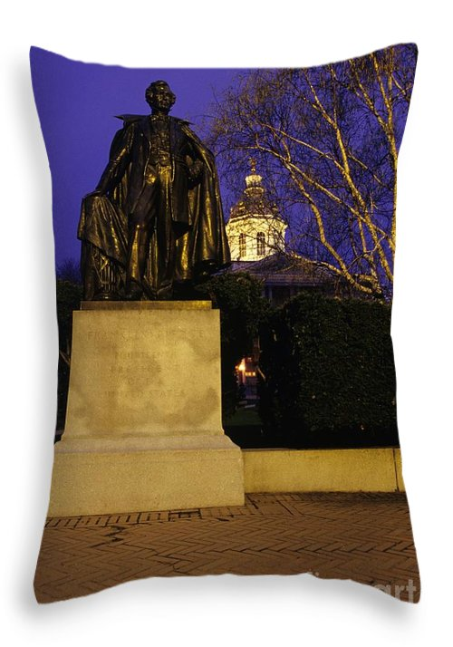 Concord Throw Pillow featuring the photograph State Capitol Building - Concord New Hampshire Usa by Erin Paul Donovan
