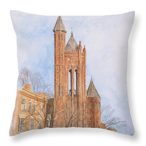 Gothic Throw Pillow featuring the painting State Street Church by Dominic White