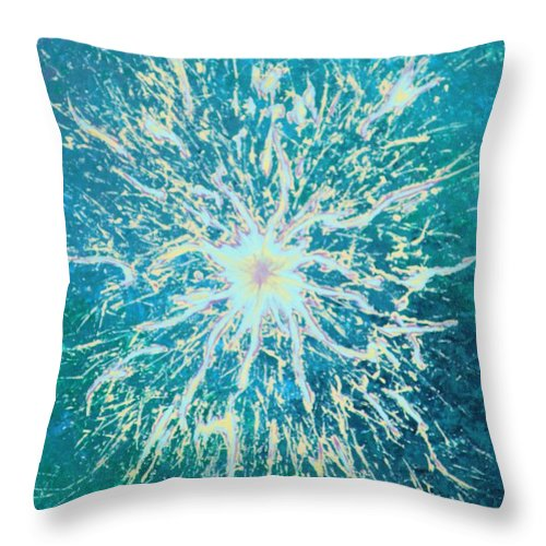 Acrylic Throw Pillow featuring the painting Static by Todd Hoover