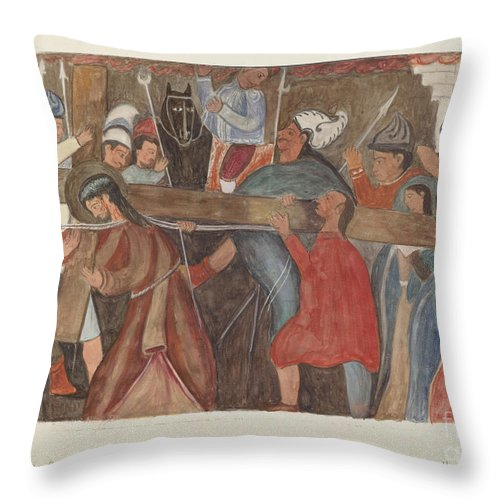 """Throw Pillow featuring the drawing Station Of The Cross No. 5: """"jesus Is Assisted In Carrying His Cross by William Herbert"""