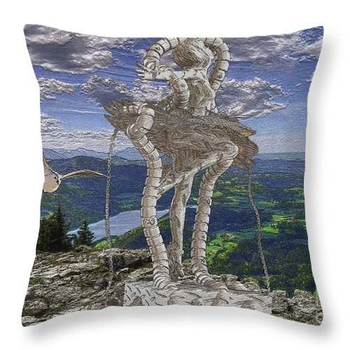 Modern Painting Throw Pillow featuring the mixed media Statue On The Rocks by Pemaro