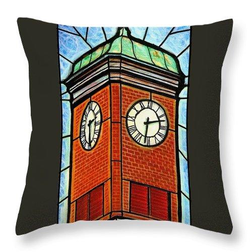 Clocks Throw Pillow featuring the painting Staunton Clock Tower Landmark by Jim Harris