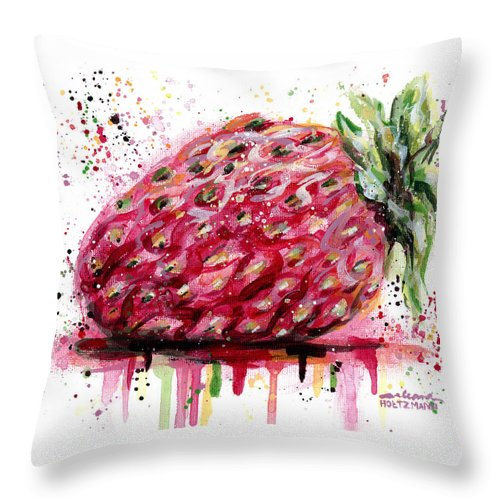 Strawberry Throw Pillow featuring the painting Stawberry 1 by Arleana Holtzmann