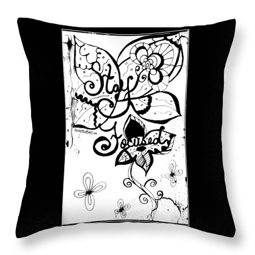 Doodle Throw Pillow featuring the drawing Stay Focused by Rachel Maynard