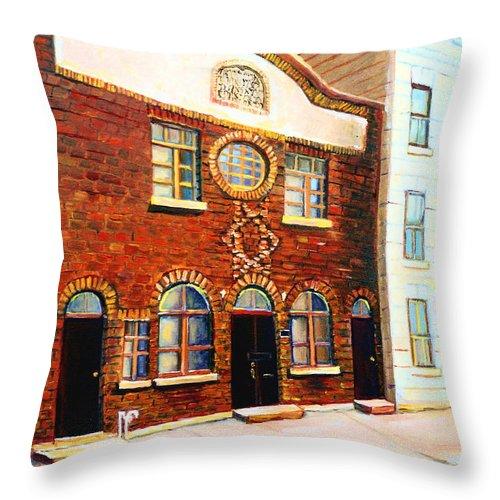 St. Dominique Street Synagogue Throw Pillow featuring the painting St.dominique Street Synagogue by Carole Spandau