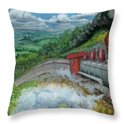 Train Throw Pillow featuring the painting Steam Train by Kevin Middleton