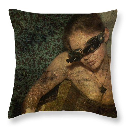 Girl And Steampunk Goggles Throw Pillow featuring the photograph Steamgirl by Monique Cousineau