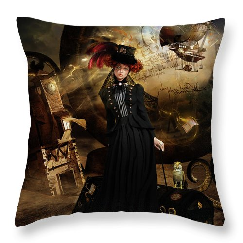 Steampunk Time Travel Throw Pillow featuring the digital art Steampunk Time Traveler by Shanina Conway