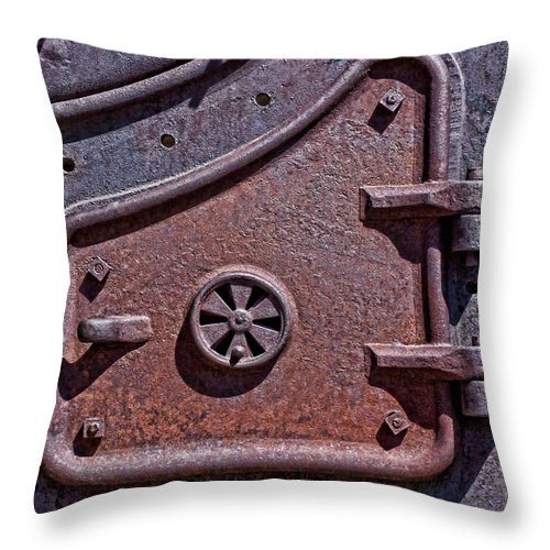 Texture Throw Pillow featuring the photograph Steel Door by Kelley King
