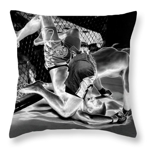 Photography Throw Pillow featuring the photograph Steel Men Fighting 7 by Frederic A Reinecke