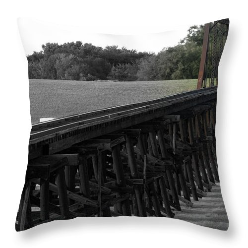 Rail Throw Pillow featuring the photograph Steel Rails by Elizabeth Hart