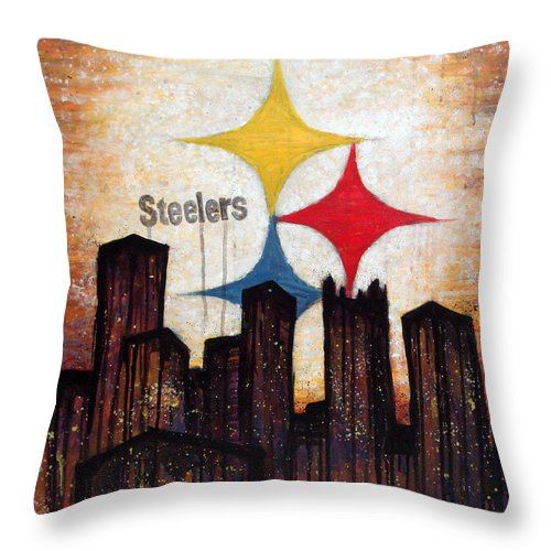 Steelers Throw Pillow featuring the painting Steelers. by Mark M Mellon