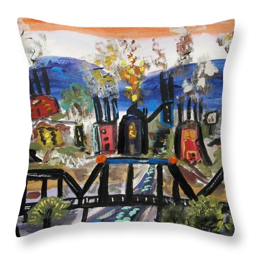 Steel Mills Throw Pillow featuring the painting Steeltown U.s.a. by Mary Carol Williams