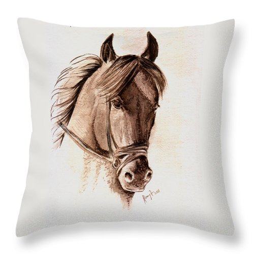 Fine Art Horses Throw Pillow featuring the painting Steely Black Stallion by Remy Francis