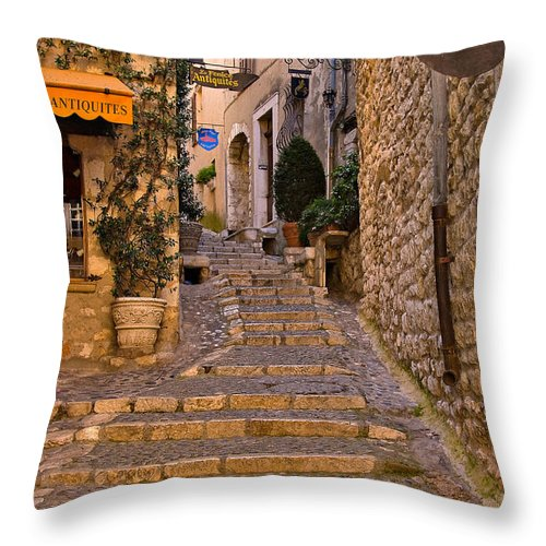 Travel Throw Pillow featuring the photograph Steep Street In St Paul De Vence by Louise Heusinkveld