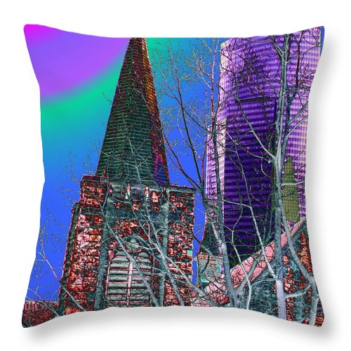 Seattle Throw Pillow featuring the digital art Steeple And Columbia by Tim Allen