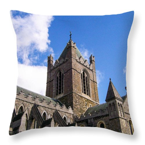 Church Throw Pillow featuring the photograph Steeple In The Clouds by Greg Plamp