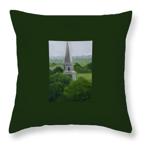 Steeple Throw Pillow featuring the painting Steeple by Toni Berry