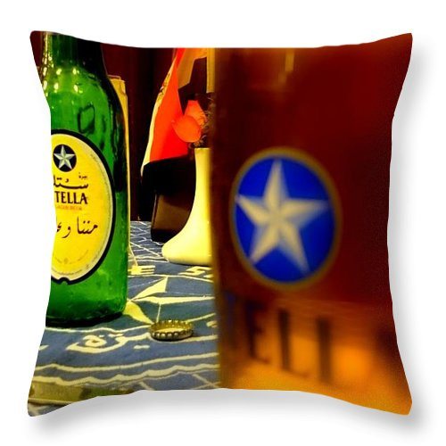 Stella Beer Bottle Egypt Beer Throw Pillow featuring the photograph Stella Beer by Mina Milad