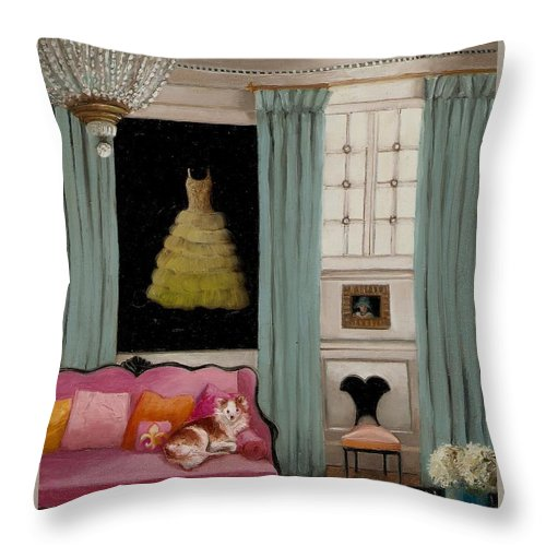 Pink Throw Pillow featuring the painting Stella In Paris 6e by Cara alex White