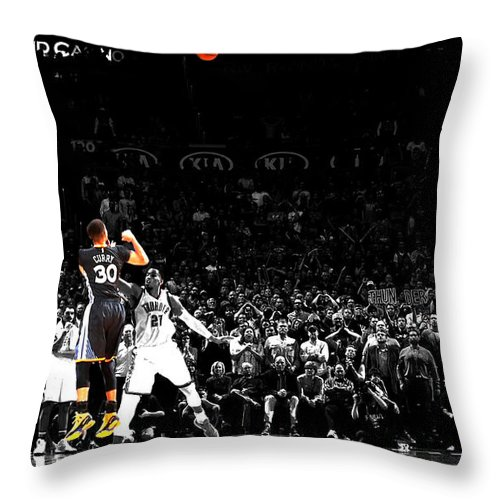 Stephen Curry Throw Pillow featuring the mixed media Steph Curry Its Good by Brian Reaves