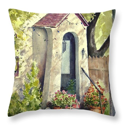 Door Throw Pillow featuring the painting Stephanie's Porch by Sam Sidders