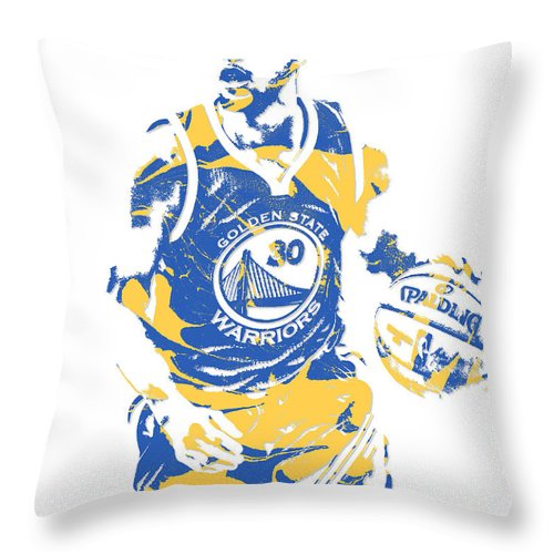 Stephen Curry Throw Pillow featuring the mixed media Stephen Curry Golden State Warriors Pixel Art 21 by Joe Hamilton