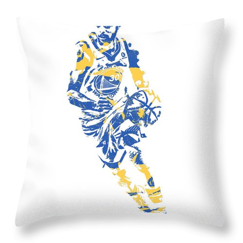 Stephen Curry Throw Pillow featuring the mixed media Stephen Curry Golden State Warriors Pixel Art 50 by Joe Hamilton