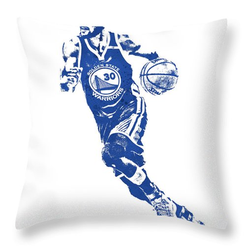 Stephen Curry Throw Pillow featuring the mixed media Stephen Curry Golden State Warriors Water Color Pixel Art 1 by Joe Hamilton