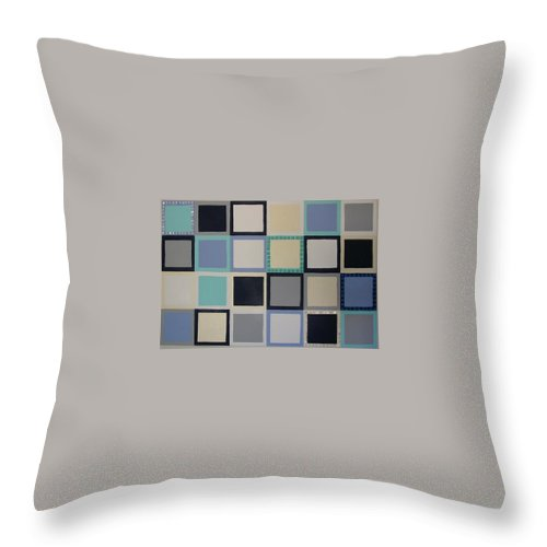 Squares Throw Pillow featuring the painting Stepping Stones by Gay Dallek