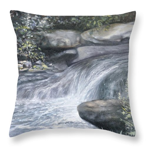 Oil Paintings Of Water Falls Throw Pillow featuring the painting Stepping Stones by Penny Neimiller