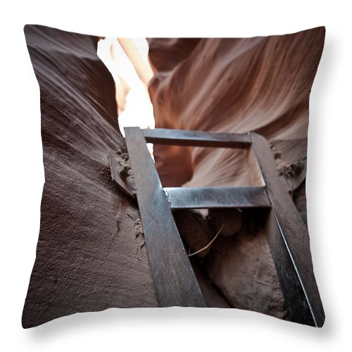 Slot Canyon Throw Pillow featuring the photograph Steps In A Slot by Scott Sawyer