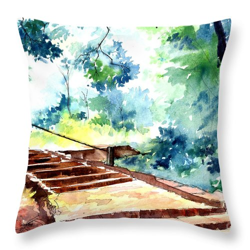 Landscape Throw Pillow featuring the painting Steps To Eternity by Anil Nene