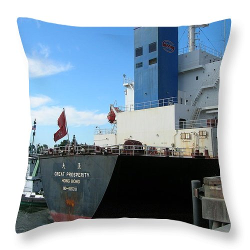 Stern Throw Pillow featuring the photograph Stern Of Ship Great Prosperity At Dock by Alan Espasandin