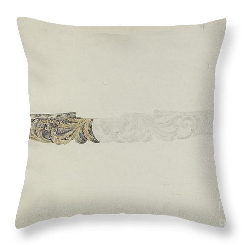 """Throw Pillow featuring the drawing Stern Piece From """"henrietta Francis"""" by American 20th Century"""