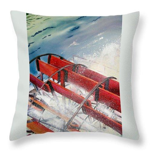 Paddlewheeler Throw Pillow featuring the painting Sternwheeler Splash by Karen Stark