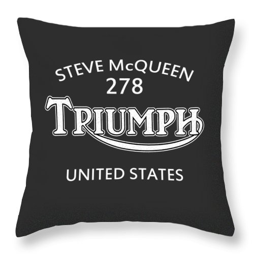 Isdt 1964 Throw Pillow featuring the photograph Steve Mcqueen Isdt Triumph by Mark Rogan