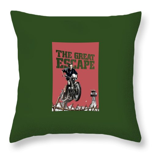 Steve Mcqueen On Motorcycle The Great Escape Poster 1963 Color Added 2016 Throw Pillow featuring the photograph Steve Mcqueen On Motorcycle The Great Escape Poster 1963 Color Added 2016 by David Lee Guss