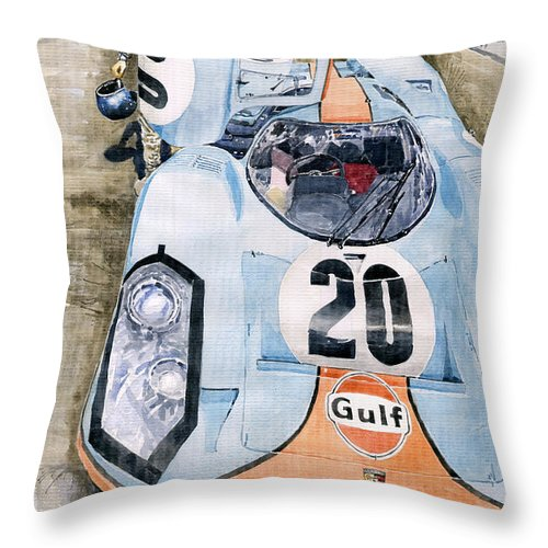 Watercolor Throw Pillow featuring the painting Steve McQueens Porsche 917K Le Mans by Yuriy Shevchuk