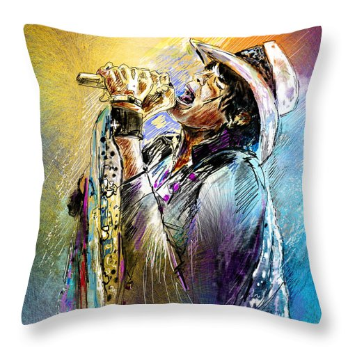 Portraits Throw Pillow featuring the painting Steven Tyler 01 Aerosmith by Miki De Goodaboom