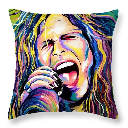 Steven Tyler Throw Pillow featuring the painting Steven Tyler by Amy Belonio