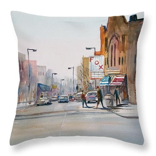 Watercolor Throw Pillow featuring the painting Steven's Point - Downtown by Ryan Radke