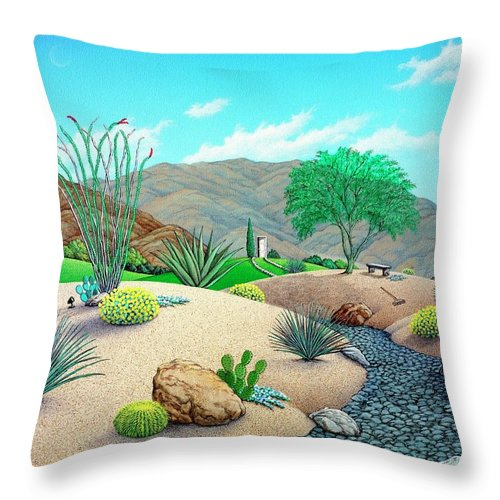 Desert Throw Pillow featuring the painting Steves Yard by Snake Jagger
