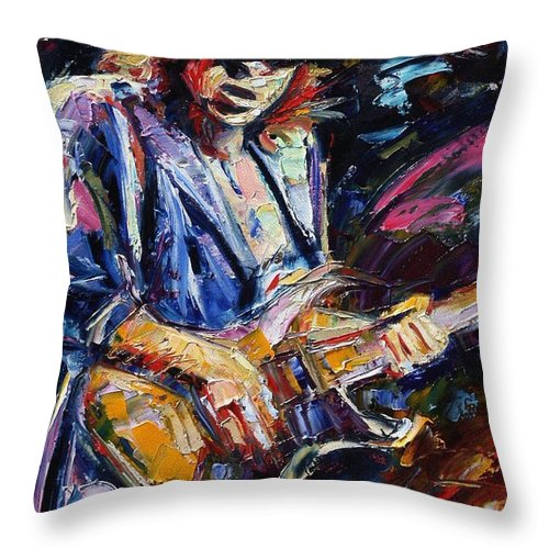 Stevie Ray Vaughan Painting Throw Pillow featuring the painting Stevie Ray Vaughan by Debra Hurd